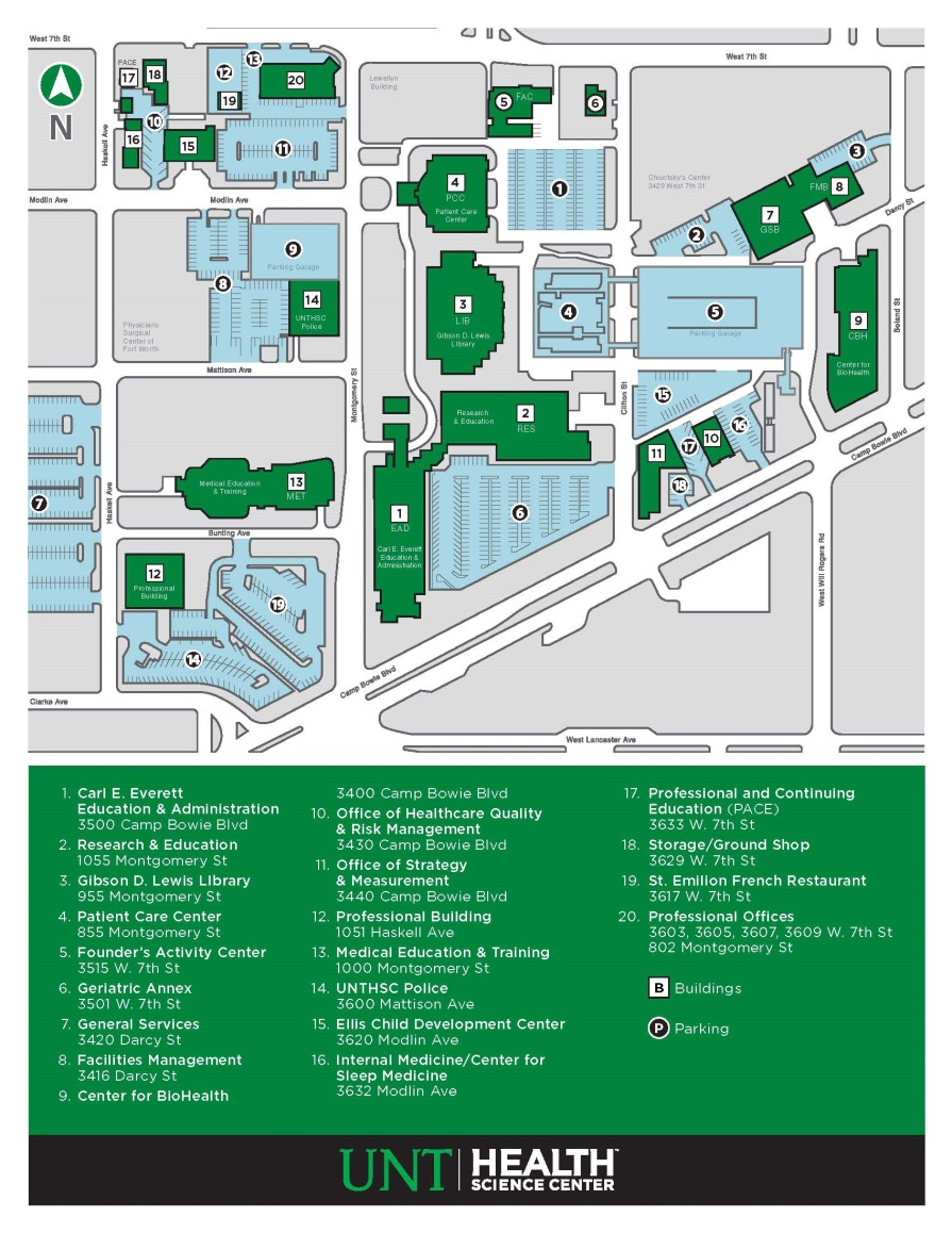 Pace Campus Map.Fort Worth Area Psychological Association Unthsc Campus Map